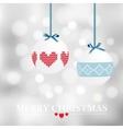 Christmas card with christmas balls and bokeh vector image
