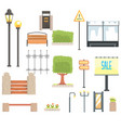 cityscape constructor elements set in cute cartoon vector image