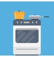 Electric oven and saucepans vector image