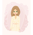 fashion girl in coat card vector image