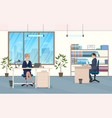 Man and woman at the desk in the office vector image