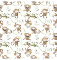 seamless pattern with funny monkeys vector image