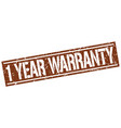 1 year warranty square grunge stamp vector image