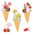 Ice cream with waffle vector image vector image