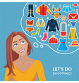 Cute young girl and thought bubble with clothes vector image