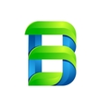 B letter leaves eco logo volume icon vector image