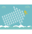 Arrow shows the way - The crowd of workers follows vector image
