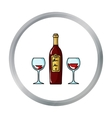 Bottle of red wine with glasses icon in cartoon vector image
