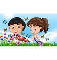Boy and girl in the garden full of butterflies vector image