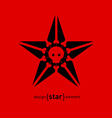 design element star with skull and bones vector image