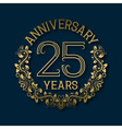 Golden emblem of twenty fifth years anniversary vector image