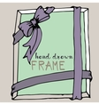 Hand drawn frame Pink and green bow and ribbon vector image