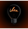 Lightbulb with Idea sign on a dark background vector image
