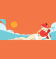 redhead sexy girl laying on the beach vector image