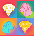 set of dogs silhouette over comic pop art vector image