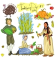 Thanksgiving day hand drawn collection Set 1 vector image