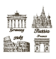 Travel Hand drawn sketch Berlin Moscow Rome vector image