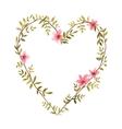 Watercolor heart of flowers vector image