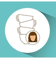 cup coffee pile with female design vector image