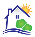 House sun and bushes icon logo vector image vector image