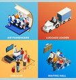 isometric people at airport vector image