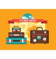 Background with Bag Suitcases World map Vacation vector image