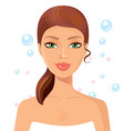 beautiful young woman perfect face with bubbles vector image