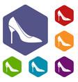 bride shoes icons set vector image