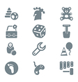 gray icon set children toys and games vector image