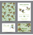 Invitation or Greeting Christmas Card Set vector image
