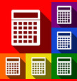calculator simple sign set of icons with vector image