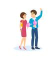 couple walks streets of city eats sweet wadding vector image