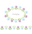 floral oval frame embroidered tulips isolated on vector image