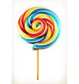 Rainbow swirl lollipop icon vector image