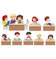 Children working on table vector image