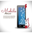 smartphone electric guitar mobile note music vector image