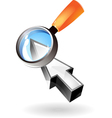 Icon of pointer and lens vector image vector image