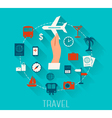 Flat design icons set of vacation and travel vector image