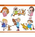 kids with pets cartoon set vector image vector image
