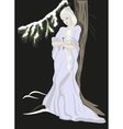 The Snow Queen standing near the treeEPS10 vector image