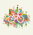 Green environment bike icon vibrant colors poster vector image
