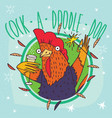 cock or rooster with champagne and sparkler vector image
