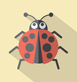 Flat Design Ladybug Icon vector image