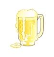 Mug of Beer with Overflowing Foam vector image