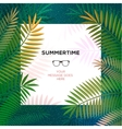 Summer tropical template with palm leaves vector image