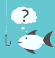 Thoughtful fish and fishhook vector image