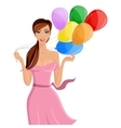 Woman balloon portrait vector image