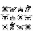 Drone quadcopter with camera and controller icons vector image vector image