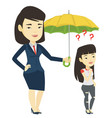 businesswoman holding umbrella over woman vector image
