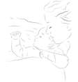 Sleeping mother and baby icon vector image